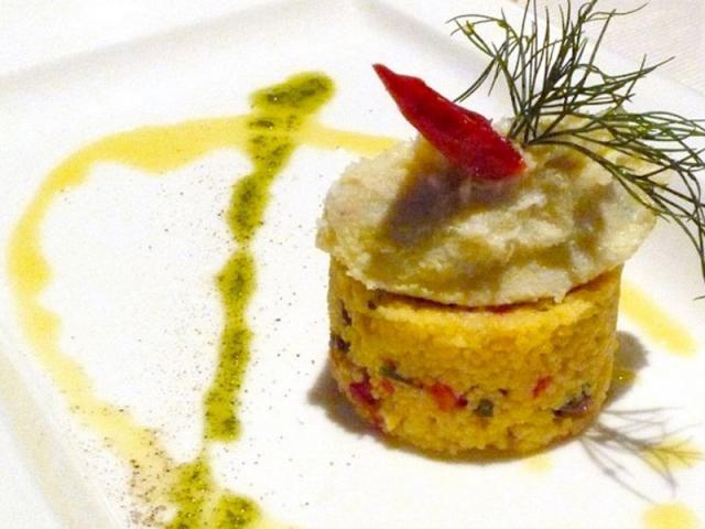Brandade di baccalà con cous cous alle verdure