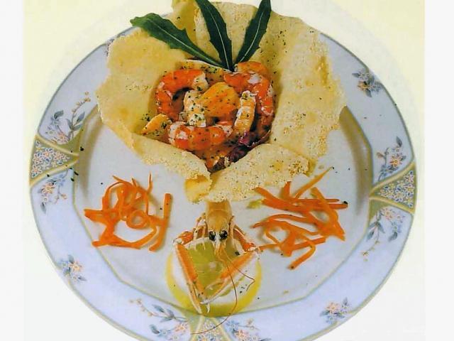 Cestinetto di crostacei agli agrumi di Sicilia