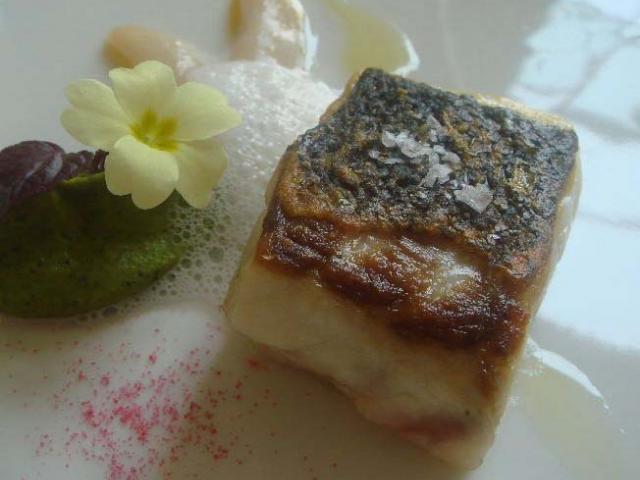 Trancio di branzino con burro salato della Normandia, fiori del cappero e limone