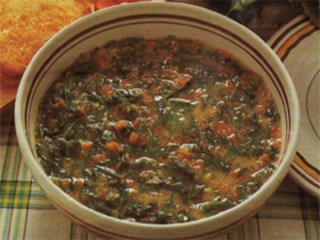 Zuppa di punte di cicoria con brodo di carne