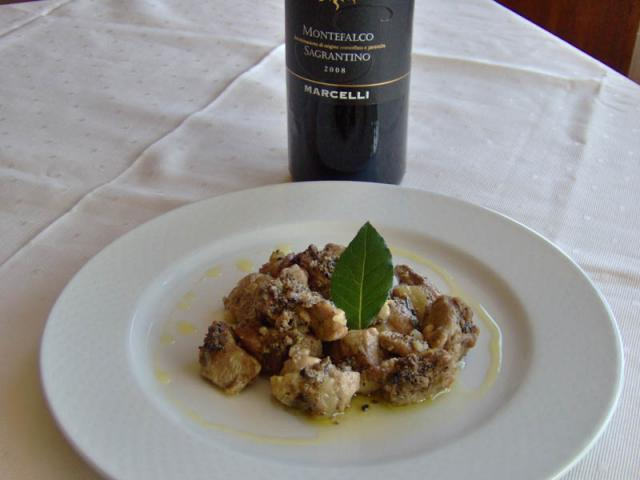 Agnello tartufato e Sagrantino