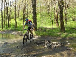 Mountain bike attraversamento fiume Alcantara