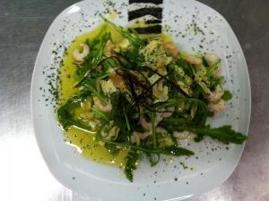 Gamberetti in insalata di Rucola e Carciofi